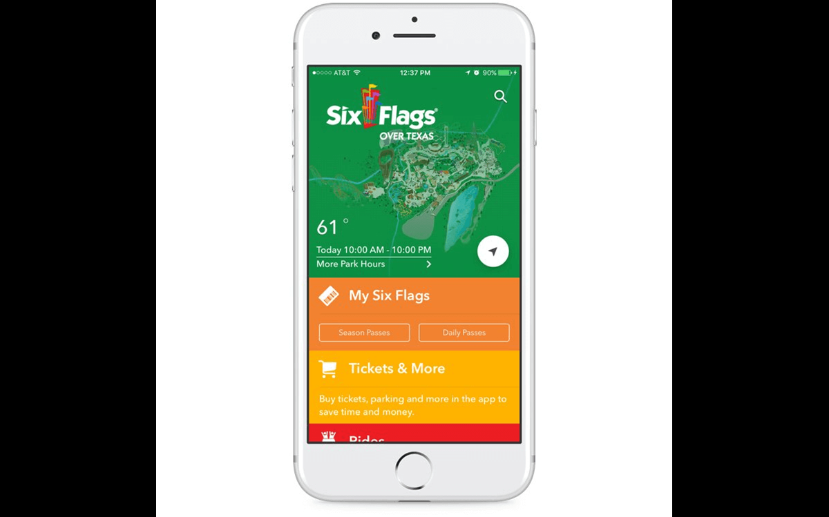 white iphone showing home page for over texas six flags park